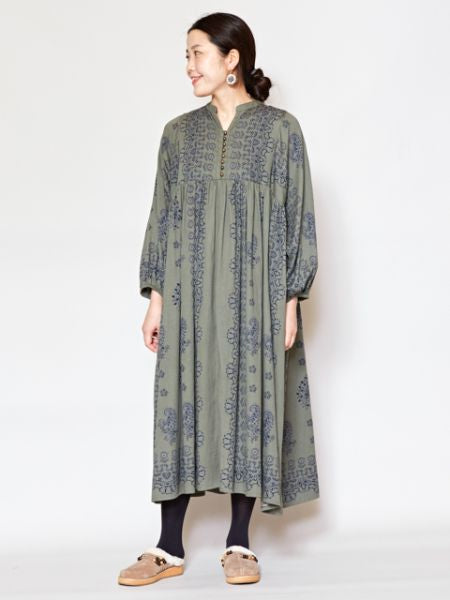 Vintage Ethnic Pattern Band Collar Dress