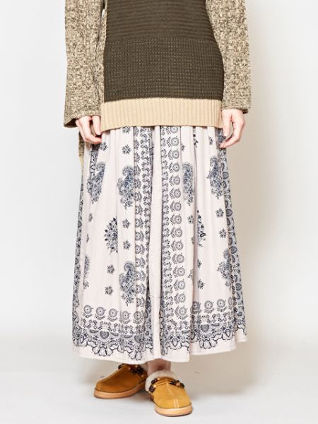 Vintage Ethnic Pattern Block Print Skirt