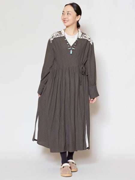 Linen Embroidery Crossover Dress