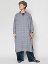 Glen Check Band Collar Long Shirt-Ametsuchi