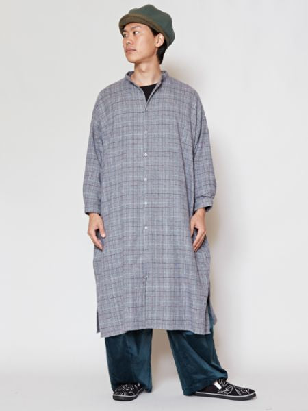 Glen Check Band Collar Long Shirt