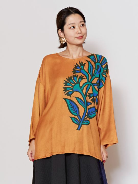 Flower Print Flare Sleeve Top-Ametsuchi