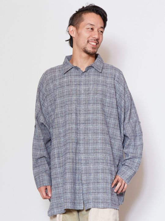 Glen Check Oversized Shirt-Ametsuchi