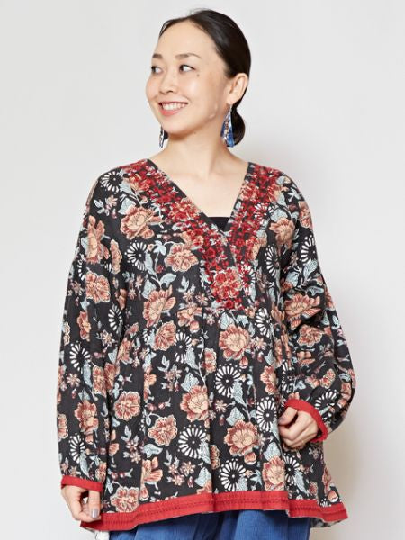 Embroidered Block Print Top-Ametsuchi