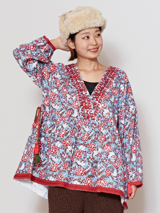 Embroidered Block Print Top