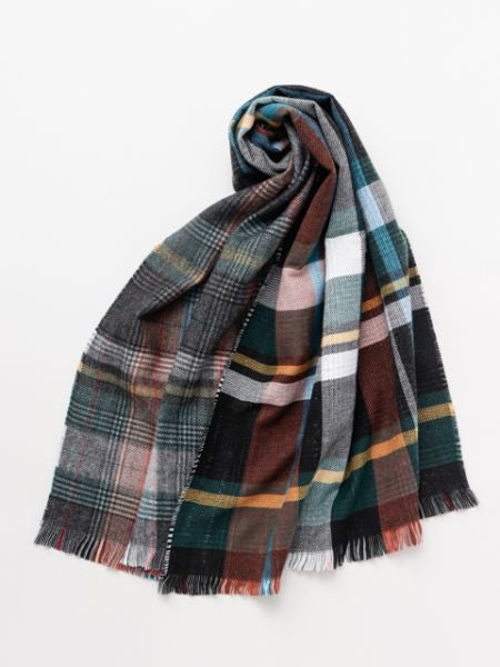 Double Glen Plaid Shawl -Scarves-Ametsuchi