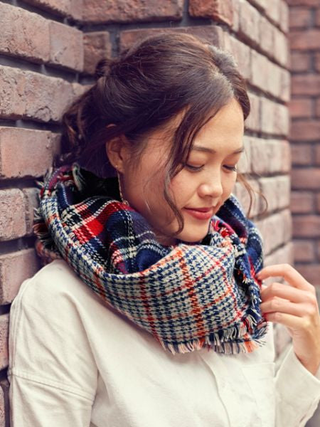 Double Plaid Shawl -Scarves-Ametsuchi