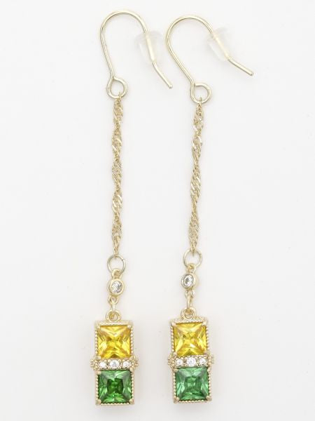 Bi Color Long Chain Earrings-Ametsuchi