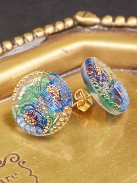 Czech Glass Button Stud Earrings