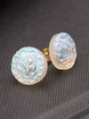Czech Glass Button Stud Earrings --S