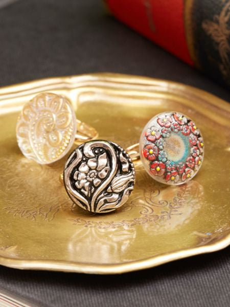 Czech Glass Button Ring