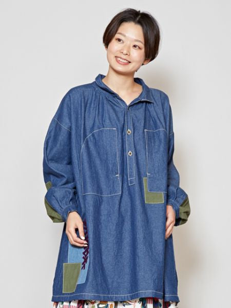 Haut tunique en denim de berger-Ametsuchi