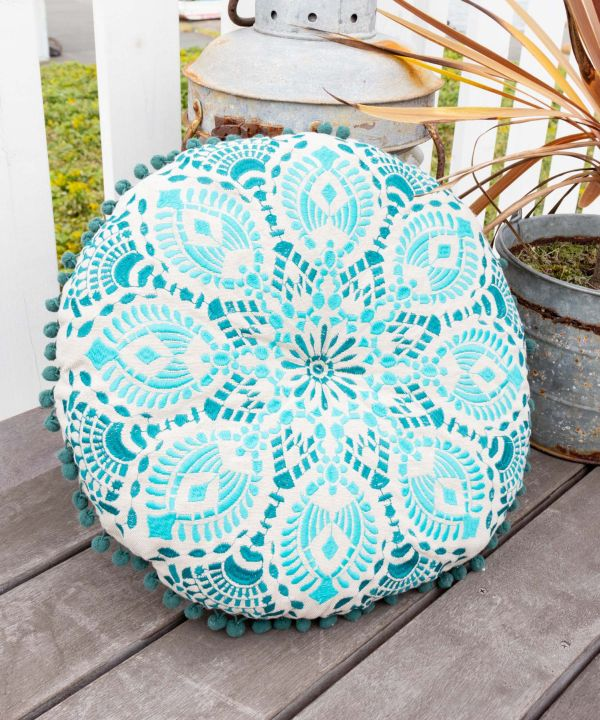Embroidered Round Pillow-Ametsuchi