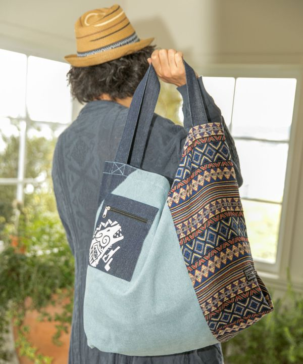 Navajo Patchwork Large Tote Bag