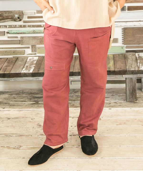 Plain Cotton Twill Pants-Ametsuchi