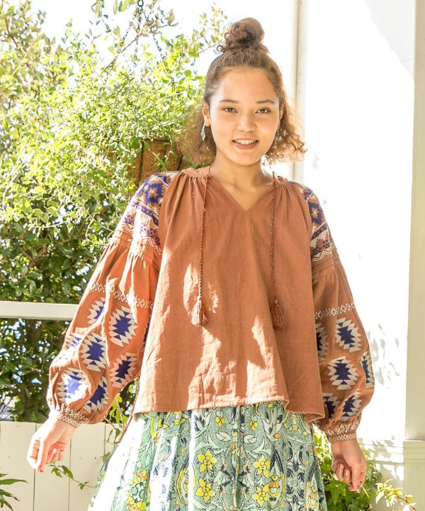 Navajo Embroidered Puff Sleeve Top