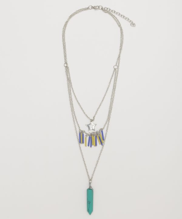 Triple Layered Color Stone Necklace -Necklaces-Ametsuchi