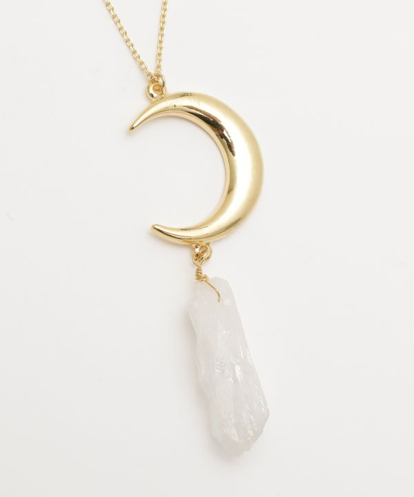 Crescent Moon Pendant Necklace -Necklaces-Ametsuchi