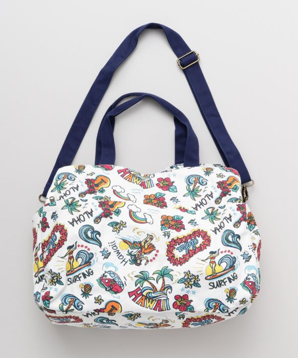 HAWAIIAN MOTIF BOSTON BAG