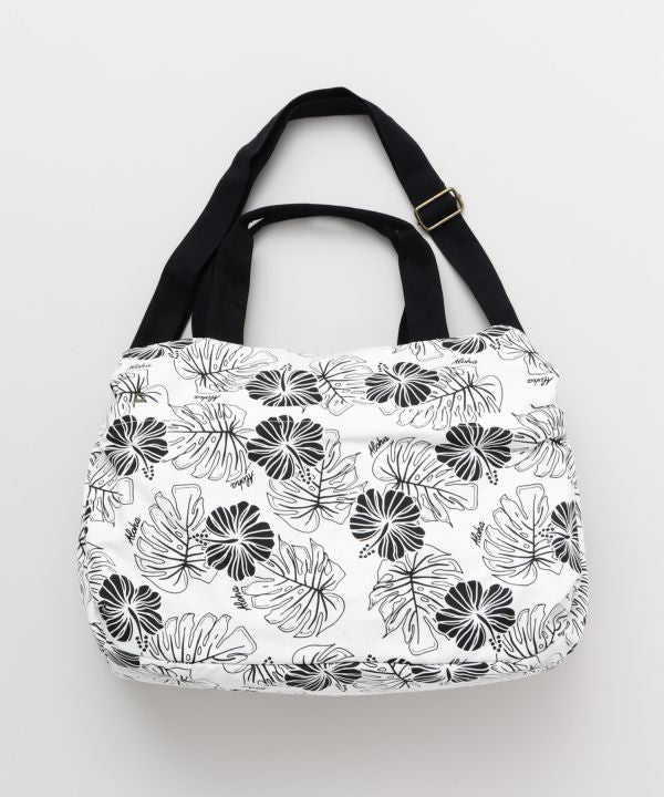 Hibiscus & Monstera Boston Tasche