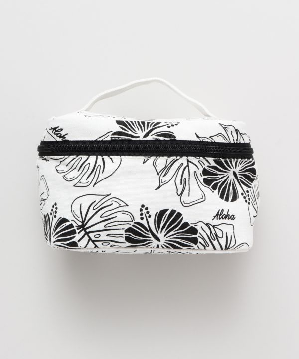 Hibiscus & Monstera Cosmetic Pouch-Ametsuchi