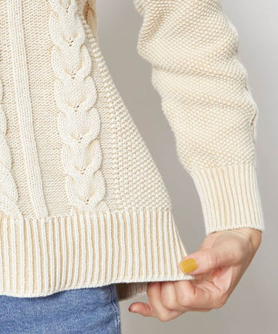 Cable Knit Hoodie Top-Tops-Ametsuchi