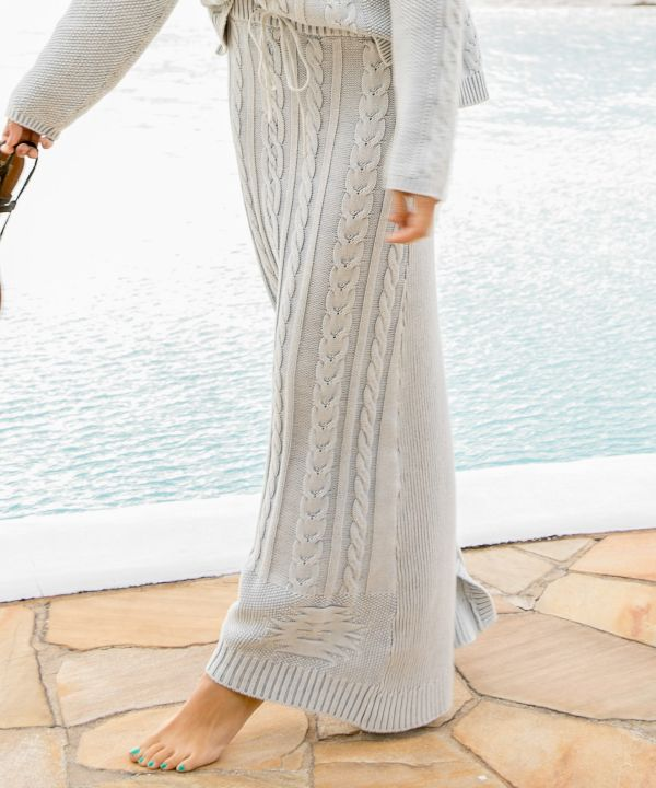 Cable Knit Long Skirt