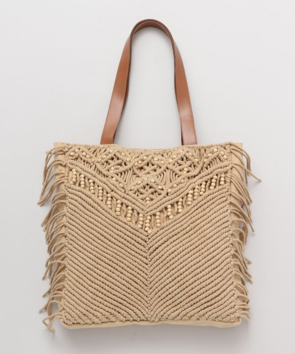 Wave Sounds Macrame Tote Bag