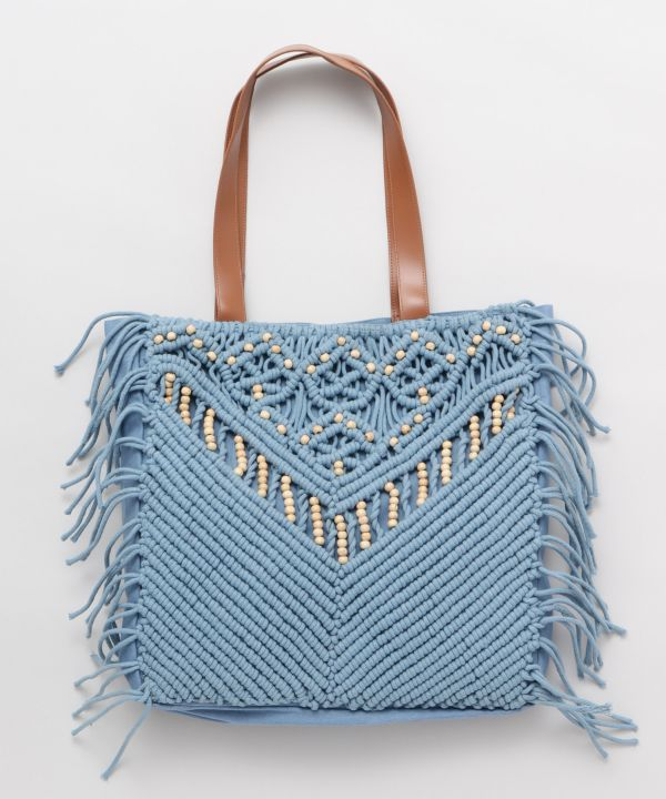 Wave Sounds Macrame Tote Bag-Bags & Purses-Kahiko- Ametsuchi