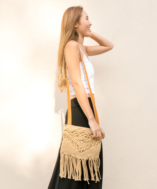 Wave Sounds Macrame Shoulder Bag-Bags & Purses-Kahiko- Ametsuchi