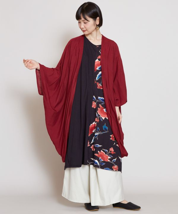 Ensemble Robe Rose Trémière x HAORI Carigan