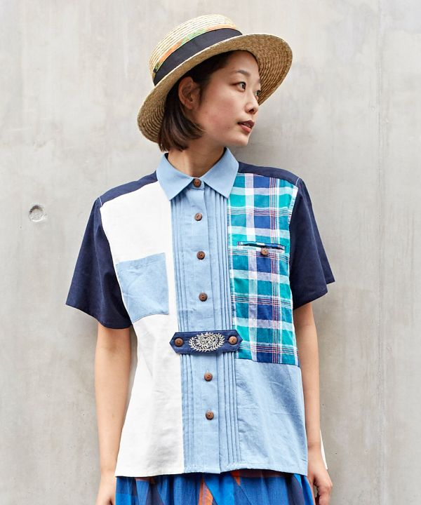 Plaid Patchwork Shirt-Ametsuchi