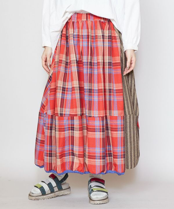 Plaid Balloon Skirt -Skirts-Ametsuchi
