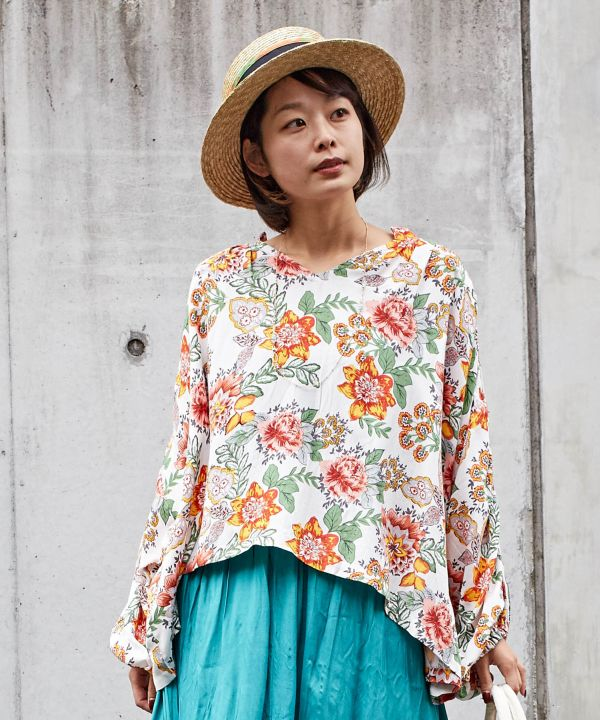 Botanisches V-Neck Top