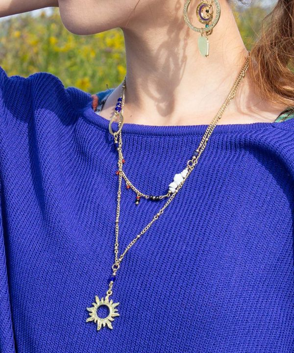 Layered Sun Necklace -Necklaces-Ametsuchi