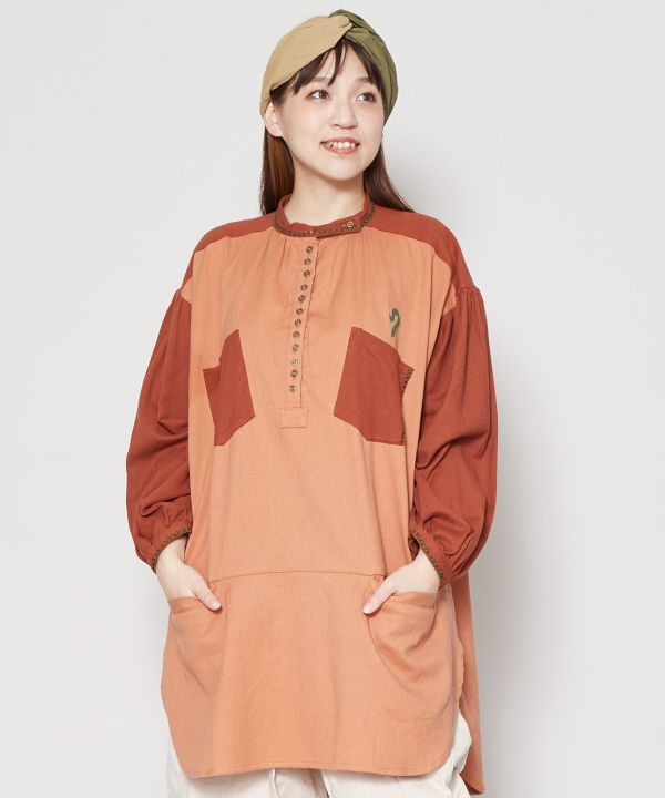 Bi Color Embroidered Tunic-Shirts & Blouses-AMINA- Ametsuchi