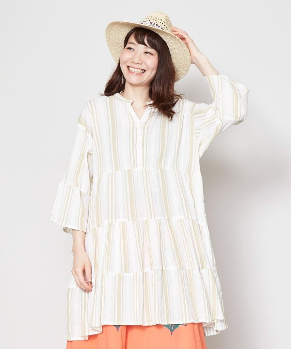 Stripe Tiered Cotton Tunika Top-Ametsuchi