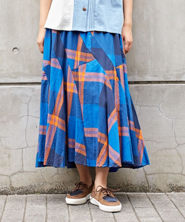Plaid Patchwork Skirt-Ametsuchi