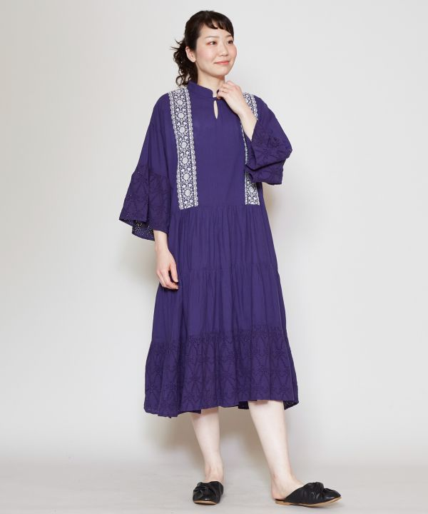 Lace Embroidery Tiered Dress-Ametsuchi