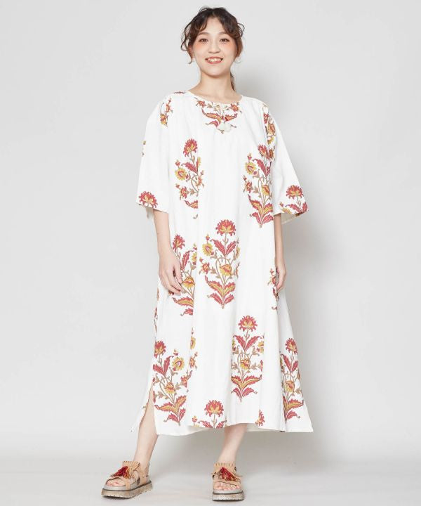 Block Print Kaftan Dress