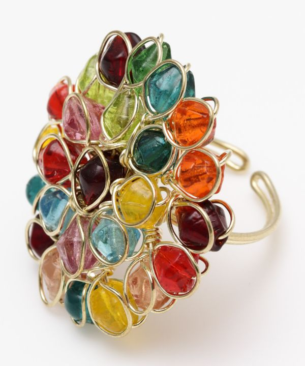 Glass Beaded Flower Ring-Rings-Ametsuchi