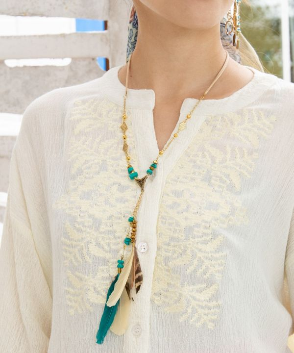 Boho Feather Necklace -Necklaces-Ametsuchi