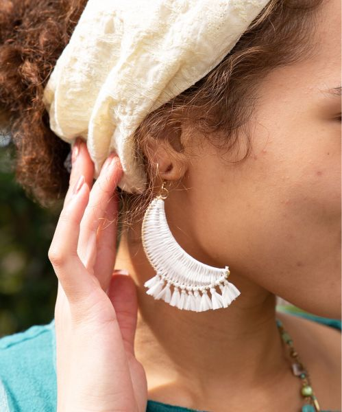 Braid Crescent Fringe Earrings