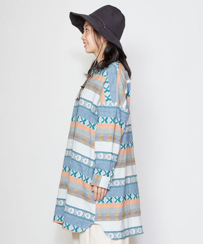 Morrocan Collarless Shirt Dress