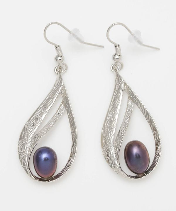 Polynesian Leaf Drop Pearl Earrings