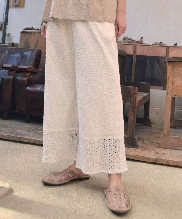 Embroidered Femme Wide Pants