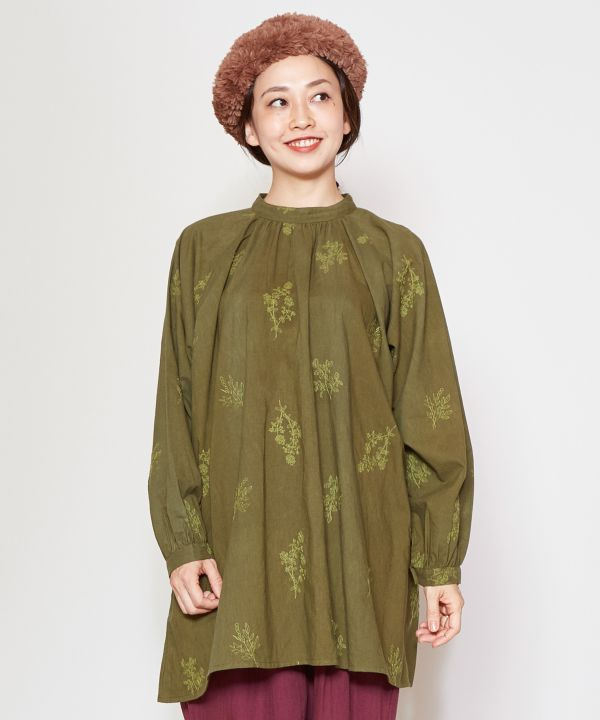 Herb Embroidered Smock Top