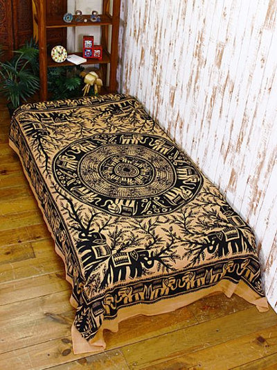 Ethnic print bedspread single size -Bed Linens-Ametsuchi