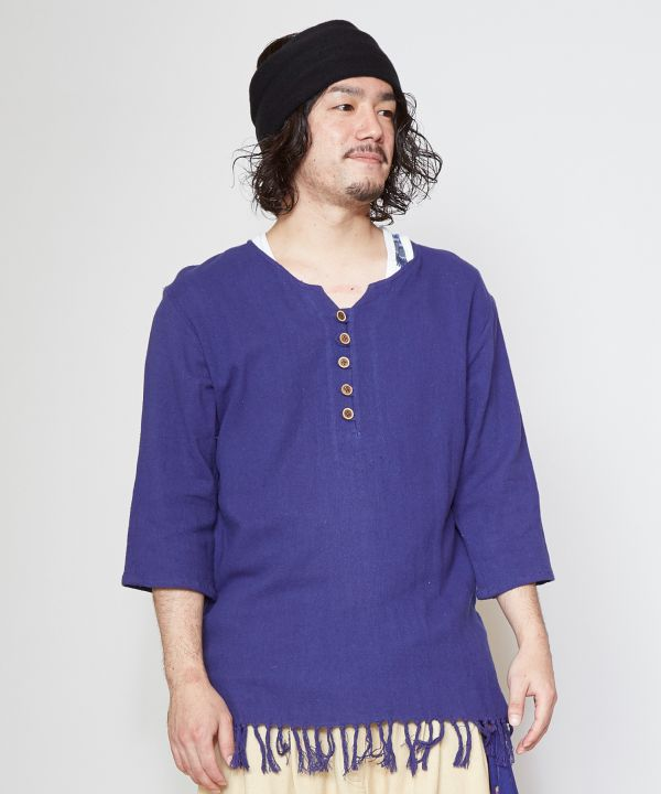 Indian Cotton Fringe Hem Kurta