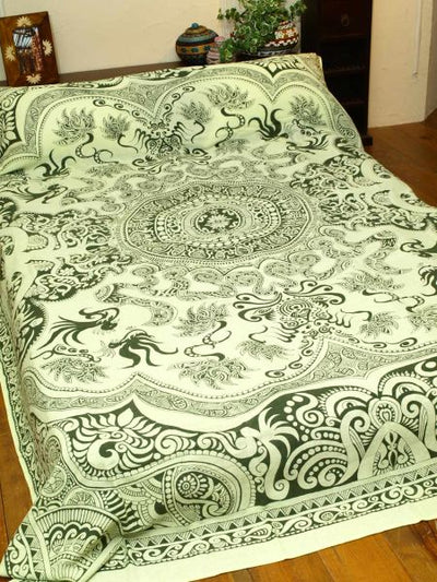 Tribal Mandala Cotton Bed Cover-Bed Linens-Ametsuchi